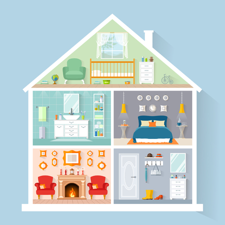 House model from the inside. Detailed interiors with furniture and decor in flat style. Vector house in a cut.