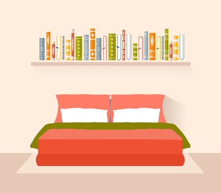 Interior design bedrooms. A room with a bed, a shelf and books in a flute style. Bedroom inside. Vector illustration.