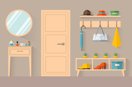 Hallway in a flat style. The interior design of the anteroom. Vector room with furniture and decor from the inside. Stock Illustratie