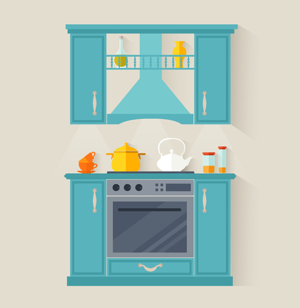 Design of compact furniture for the kitchen. Flat style room. Vector template. Ilustração