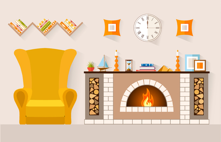 Interior of a rest room with a fireplace and a large comfortable chair. Vector illustration. Lounge in a country house.