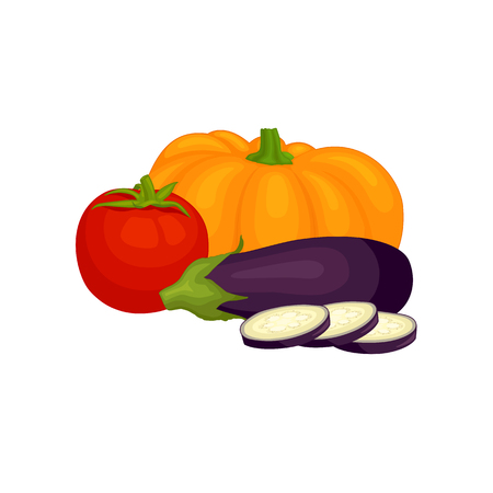A set of vegetables. Composition of tomato, pumpkin and eggplant in a cartoon style. Vector illustration on the theme of healthy eating.