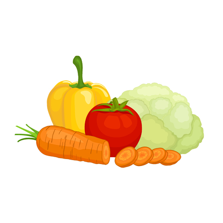 Fresh ripe vegetables isolated on white background. Vector still life from food on the topic of harvesting and agriculture.