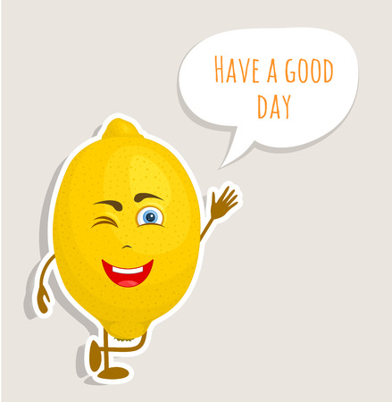 Cute lemon character waving his hand and wishes a good day. Vector sticker in cartoon style.
