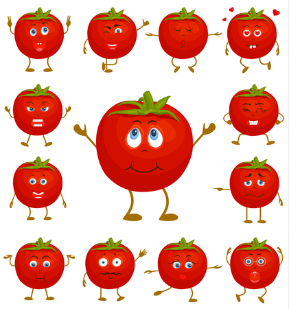 Tomato with various facial expressions and gestures. Set of vector sticker. Cute cartoon character.