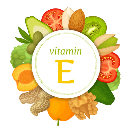 Foods high in vitamin e. Rich in tocopherol vegetables and fruits. Vector illustration. Health information collage.