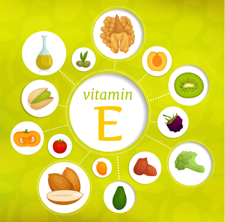Vitamin e content in various products. Vector infographics on the topic of health and diet.