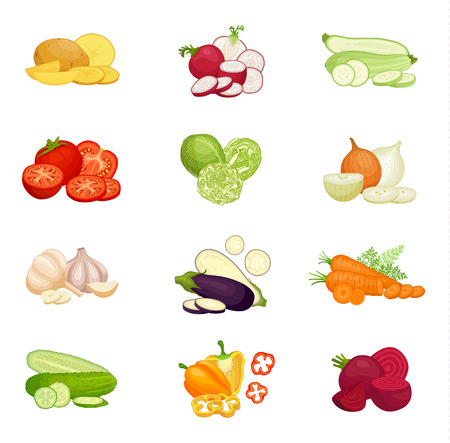 Set of vegetables isolated on white background. Compositions of various whole sliced and halved vegetables. Vector illustration.