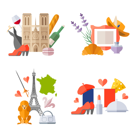 Set of ready-made composition on the theme of traveling to France. Vector templates with french symbols in flat style. Ilustração