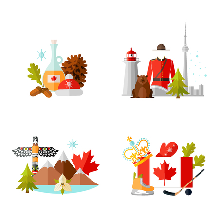 Set of compositions with symbols of Canada. Vector illustration in flat style on the theme of tourism. Template with traditional Canadian attributes.