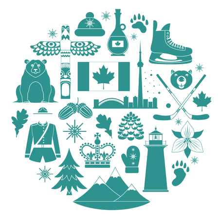 Silhouettes of famous Canadian symbols. Vector travel icons templates.