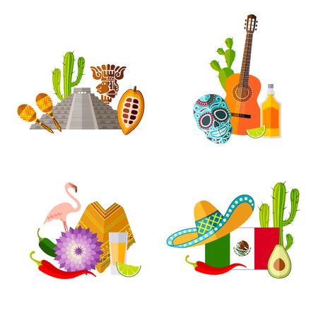 Ensembles de modèles prêts à l'emploi sur le thème du Mexique. Symboles mexicains dans un style plat. Illustration vectorielle. Vecteurs