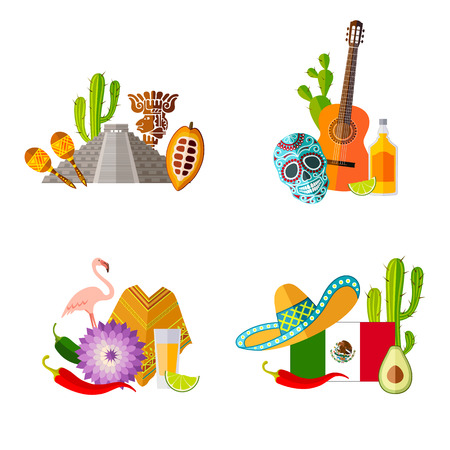 Ready-made sets of templates on the theme of Mexico. Mexican symbols in flat style. Vector illustration.