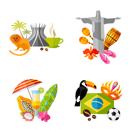 Travel to Brazil. Set of vector compositions in flat style. Template.