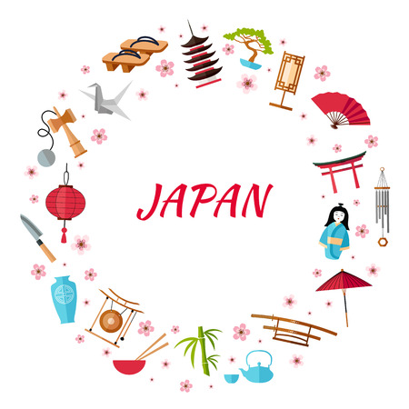 Wreath with place for text on the topic of travel to Japan. Vector frame of traditional Japanese characters. Vector.
