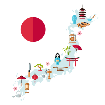 Tourist map of Japan. Symbols and landmarks of the country on the map. Vector illustration in flat style. Travel map. Ilustração