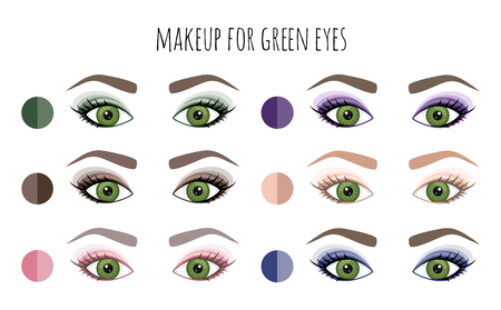Color palette of shadows for green eyes. Vector. Vetores