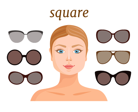 Suitable eyeglass shape for square face type. Vector illustration. A guide to the selection of accessories in the shape of the face. Creating style and fashion image. Ilustração