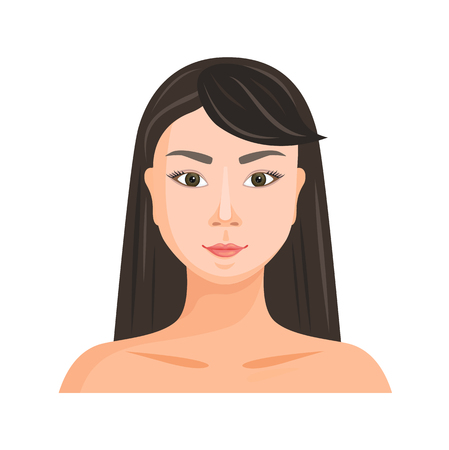Face of a beautiful Asian girl. A woman with narrow eyes. Oriental beauty. Vector avatar. Chinese, Korean, Japanese.