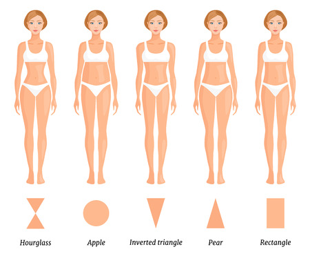 Forme del tipo di corpo femminile. Varie figure di donne. Vettore.