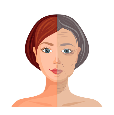 Aging skin. Vector illustration. Comparison of young and old faces. Before and after. Ilustração