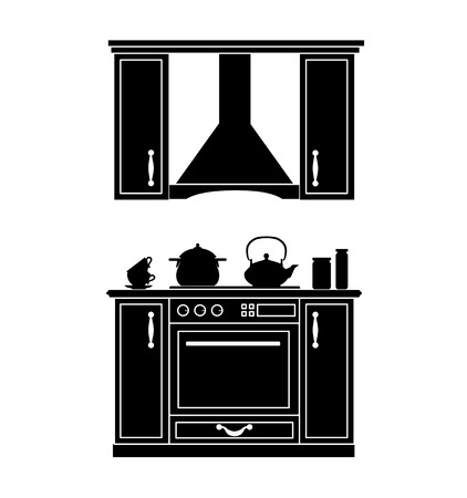 Silhouette of the kitchen. Vector black white stencil. Furniture for kitchen.
