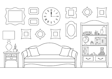 Schematic interior of the living room. Linear illustration made by stroke. Sketch of the drawing room.