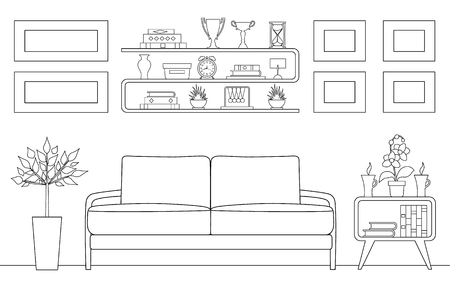 Linear illustration of a waiting room. Vector schematic interior template. Outline style reception.