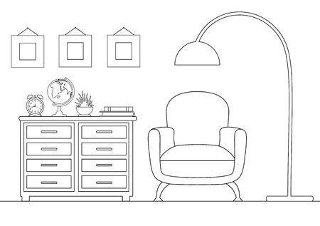 Reception in a linear style. Outline illustration of the room. Vector interior.  イラスト・ベクター素材