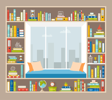 Reading room. Interior of lounge area on the windowsill with shelves for books. Vector home library in flat style.