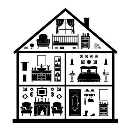 Model cottage. Vector silhouette of a house with rooms and furniture. Vector house plan in section. Black and white illustration.