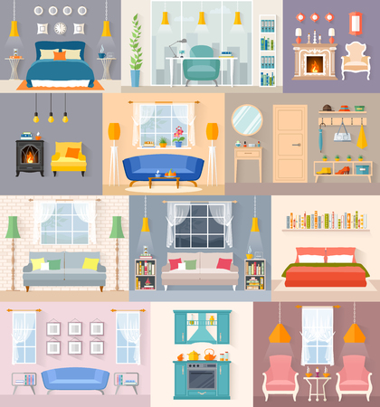 Eine Reihe verschiedener Interieurs im flachen Stil. Zimmer mit Möbeln und Accessoires. Vektor-Illustration. Vorlagen für die Innenplanung.