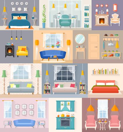 Un ensemble d'intérieurs différents dans un style plat. Chambres avec mobilier et accessoires. Illustration vectorielle. Modèles pour l'aménagement intérieur.
