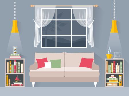 Interior de una habitación con sofá y estanterías con libros. Biblioteca casera de estilo plano. Bandera de vector. Ilustración de vector