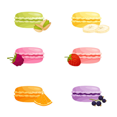 A set of macaroons with different fruit flavors. Traditional french pastry with cream. Vector illustration in cartoon style. Colorful macarons.