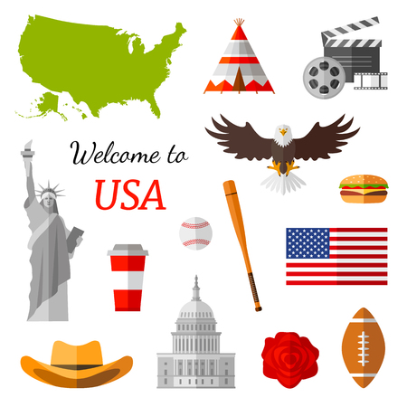 Pattern on the theme of travel in the USA. Vector illustration. Popular country symbols. Ilustração