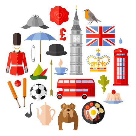Symbols, icons and attributes of Great Britain. UK attributes set. Vector in flat style.