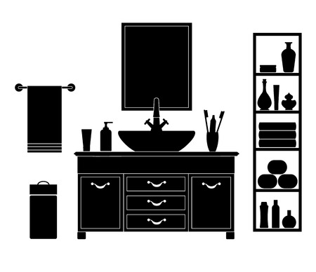 Vector room with a washstand. Silhouettes on a white background.