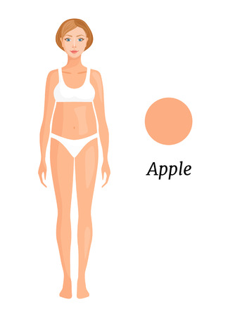 Woman with an apple shape isolated on white. Vector banner