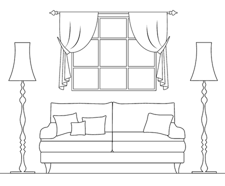 Outline style room. Living room with sofa and window. Vector linear illustration.