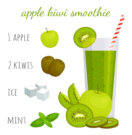 Kiwi Cocktail Recipe. How to make a green smoothie. Vector illustration.