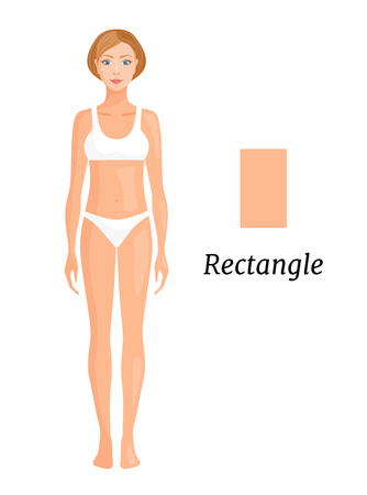 Type of figure rectangle. Vector illustration. Types of female figures