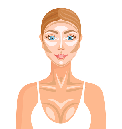 A tip for darkening and lightening areas on the face and body. Detailed contouring. Vector.