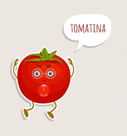 Cartoon character tomato. Tomatina Festival. Vector illustration