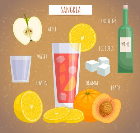 How to make alcoholic drink sangria. Vector illustration. Spanish cocktail with ingredients.