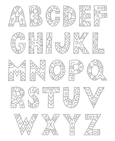 Hand drawn zenart alphabet. Doodle painted letters. Vector illustration. Foto de archivo - 126722540