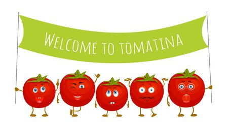 Red tomatoes are invited to the festival of harvest tomina. Fun vector characters.