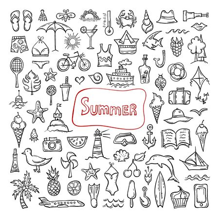 Set of hand-drawn summer symbols. Doodle icons on a summer holiday theme. Vector sketches. Popular seasonal attributes. Foto de archivo - 126722545