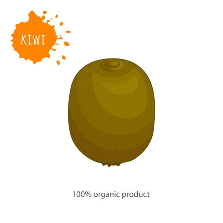 Card with a whole kiwi closeup. Vector banner in cartoon style on the theme of healthy eating.