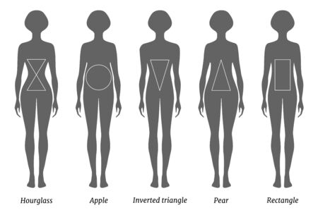 Types of female figures. Vector silhouettes with inscriptions.